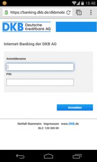 Screenshot der mobilen Version von dkb.de