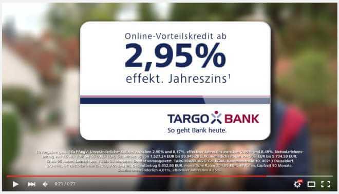 Beispiel für die Kreditwerbung im TV