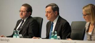 Mario Draghi bei einer Pressekonferenz