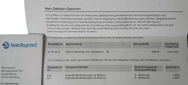 Barclaycard Mein Zahlplan - Beispiel